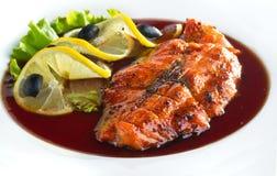 Зажаренный salmon стейк Стоковая Фотография