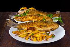 2 зажаренных рыбы Стоковое Изображение RF