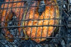 2 зажарили salmon стейки Период лета углей стоковые фотографии rf