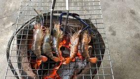 Зажарил свежих креветок на пламенеющем гриле с традиционным огнем угля акции видеоматериалы