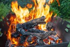 Зажарьте для барбекю с пламенем в открытом пространстве задворк стоковое фото rf