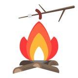 Зажарьте сосиску в огне бесплатная иллюстрация