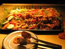 зажженная тарелка цыпленка Стоковое Фото