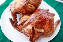 зажженная тарелка цыпленка Стоковые Фото