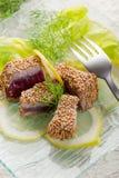 зажженная туна сезама семени Стоковое Изображение RF