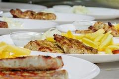 зажженное мясо Свинина стейка Стоковое Фото