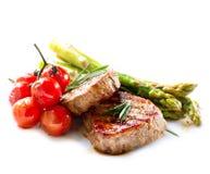 Зажженный стейк говядины стоковые изображения rf