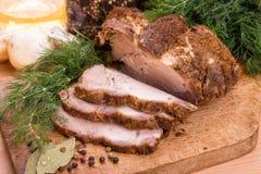 Зажженное мясо стейка свинины Стоковое Фото