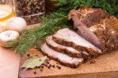 Зажженное мясо стейка свинины Стоковые Изображения