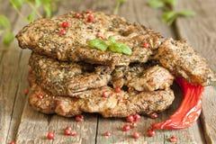 Зажженное мясо стейка свинины Стоковые Фотографии RF