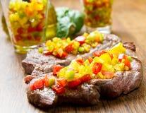 Зажженное мясо стейка Стоковое Фото