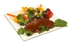 Зажженное мясо с соусом Стоковые Фото