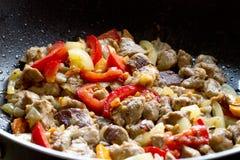 зажженные овощи мяса Стоковые Фотографии RF