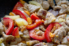 зажженные овощи мяса Стоковое Фото