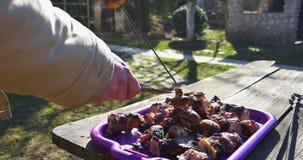 зажженные протыкальники мяса Извлекать вкусное барбекю мяса из протыкальников сток-видео