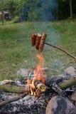 зажженные сосиски Стоковые Изображения