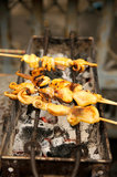 Зажженный кальмар на печке в рынке Таиланда Стоковые Изображения RF