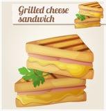 Зажженный сандвич сыра Детальный значок вектора иллюстрация штока