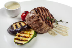 Зажженный стейк говядины Стоковая Фотография
