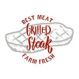 зажженный стейк Мясо фермы свежее самое лучшее зажженное мясо Конструируйте элемент для логотипа, ярлыка, эмблемы, знака, значка Стоковые Фотографии RF