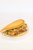 зажженный цыпленком сандвич плиты Стоковые Фото
