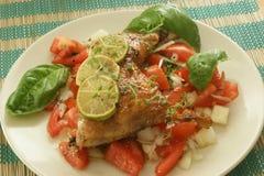зажженный цыпленком томат лука Стоковое Изображение RF