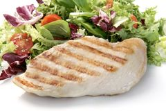 зажженный цыпленок груди стоковое изображение