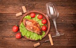 зажженный цыпленок груди стоковые фото