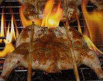 Зажженный цыпленок на решетке Стоковое Фото