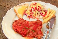 зажженный chop сочный салат свинины Стоковые Фото