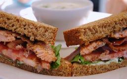 зажженный salmon сандвич Стоковая Фотография RF