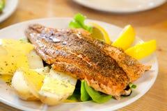 Зажженный Salmon стейк Стоковые Изображения RF