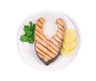 зажженный salmon стейк Стоковые Фотографии RF
