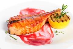 зажженный salmon стейк Стоковое Изображение RF