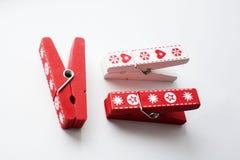 Зажимки для белья - декоративные орнаменты для рождественской елки Стоковые Фото
