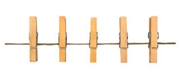 Зажимки для белья на веревочке Стоковая Фотография RF