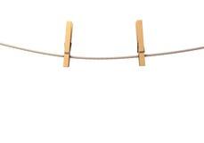 2 зажимки для белья на веревочке Стоковое Изображение