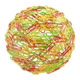зажимы сделали бумажный мир канцелярских принадлежностей сферы Стоковая Фотография RF