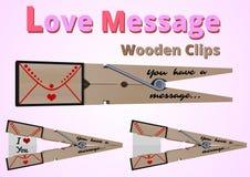 Зажимы сообщения любов деревянные иллюстрация вектора