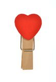 Зажим формы сердца деревянный Стоковые Изображения