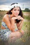 Заискивать в поле цветков Стоковые Изображения RF