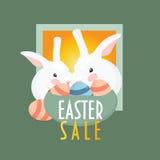 2 зайцы пасхи или кролика и корзина пасхальных яя ` Продажи пасхи ` текста Стоковая Фотография RF