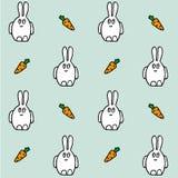 Зайцы с морковью Безшовная картина вектора Текстура руки рисуя иллюстрация штока