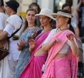 Зайцы Krishna/танцы и петь Стоковая Фотография RF