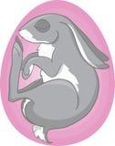 Зайчик в розовом яичке иллюстрация штока