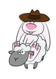Зайчик и овцы Стоковая Фотография