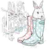 Зайчик меда в ботинке Мода & стиль мило бесплатная иллюстрация
