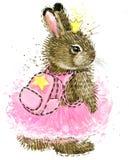 зайчик милый Зайчик акварели Кролик Одичалая акварель кролика иллюстрация штока