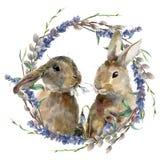 Зайчик пасхи акварели с флористическим венком Вручите покрашенного кролика при ветвь лаванды, вербы и дерева изолированная на бел бесплатная иллюстрация