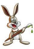 Зайчик пасхи держа Paintbrush 2 Стоковое Изображение